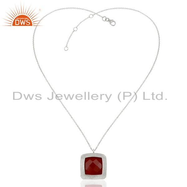 Exporter 925 Sterling Silver Designer Natural Red Omnyx Gemstone Pendants