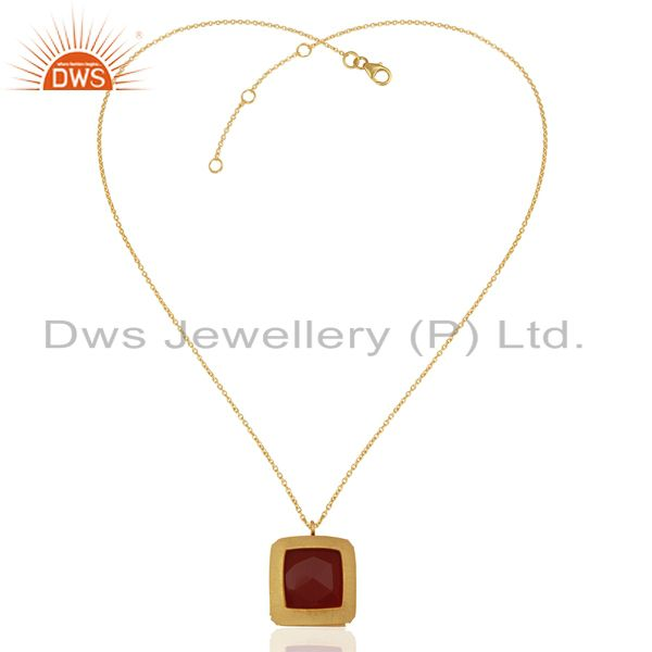 Exporter Natural Red Onyx Gemstone Gold Plated Silver Chain Pendant Jewelry