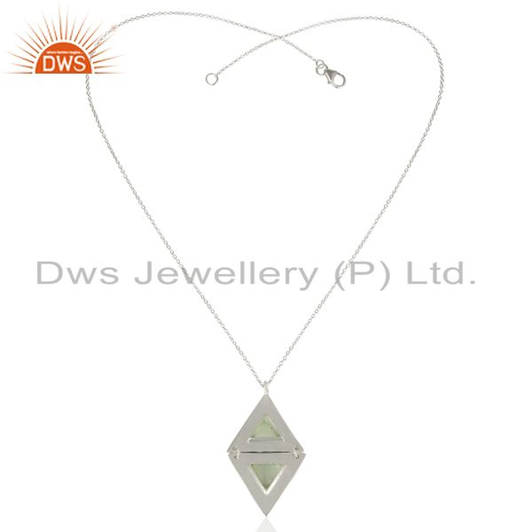 Exporter Dyed Aqua Chalcedony Double Triangle 925 Sterling Silver Pendant And Necklace