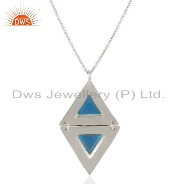 Exporter Dyed Blue Chalcedony Double Triangle Sterling Silver Semi Precious Stone Jewelry
