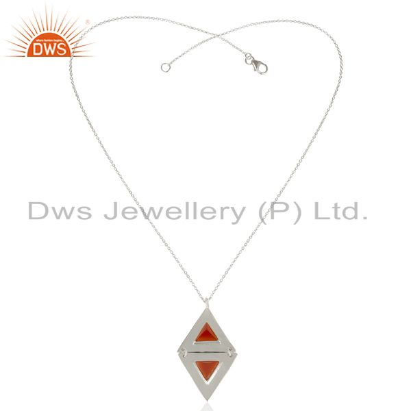 Exporter Carnelian Double Triangle 925 Sterling Silver White Rhodium Plated Chain Pendant