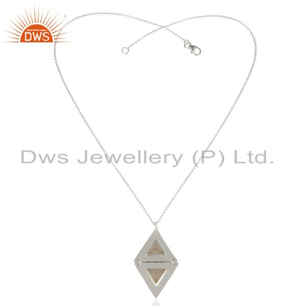 Exporter Dyed Rose Chalcedony Double Triangle Sterling Silver Pendant Gemstone Jewellery