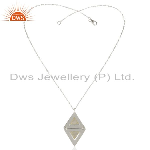 Exporter Rainbow Moon Stone Double Triangle 925 Sterling Silver Pendant And Necklace
