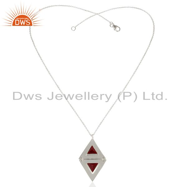 Exporter Ruby Red Corundum Gemstone  Double Triangle 925 Sterling Silver Chain Pendant