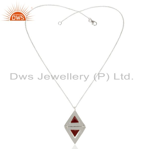 Exporter Red Onyx Double Triangle Sterling Silver Pendant Semi Precious Stones Jewelry