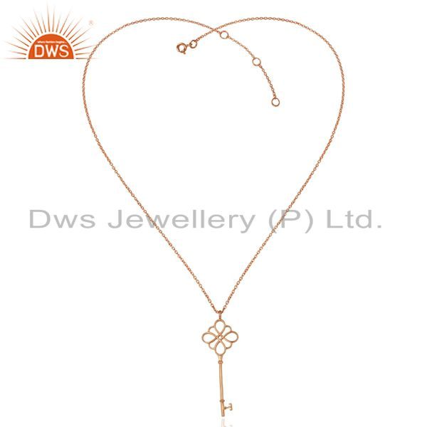 Exporter Keys knot Style 92.5 Sterling Silve Rose Gold Plated Pendant Necklace