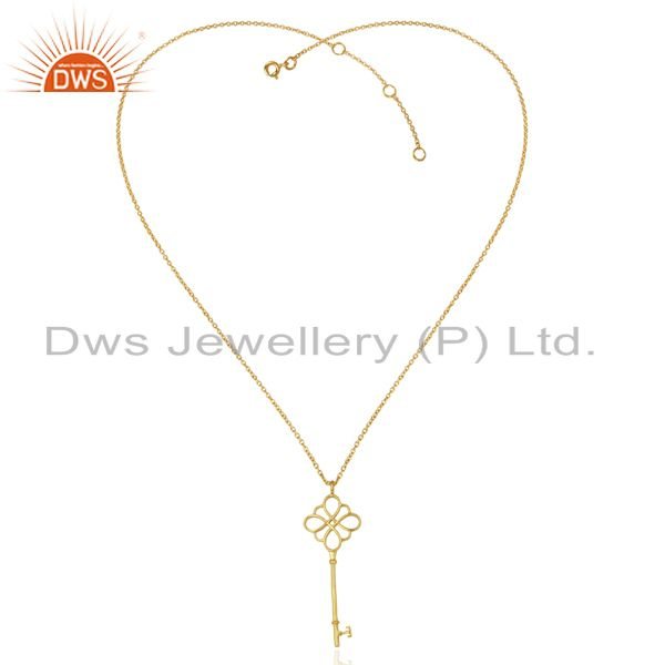 Exporter Keys knot Style 92.5 Sterling Silver 14K Gold Plated Pendant Necklace