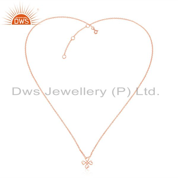 Exporter Loving Heart 92.5 Sterling Silver Rose Gold Plated Pendant Necklace