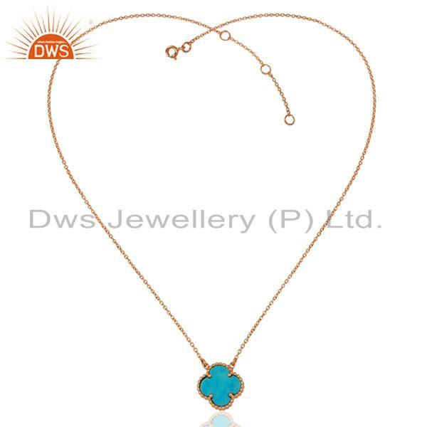 Exporter Turquoise Clover The Magic 1 Motif Sterling Silver Rose Gold Plated Pendant