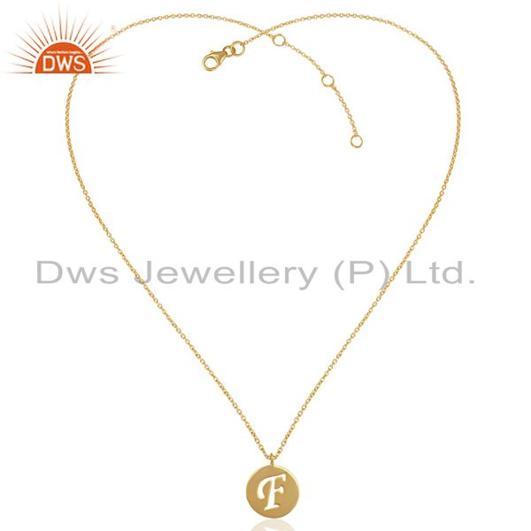 Exporter Initial F Gold Plated Girls Plain Silver Chain Pendant Manufacturer
