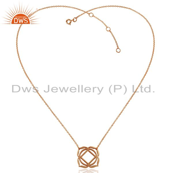 Exporter 18K Rose Gold Plated 925 Sterling Silver Chain Pendant Necklace Jewelry