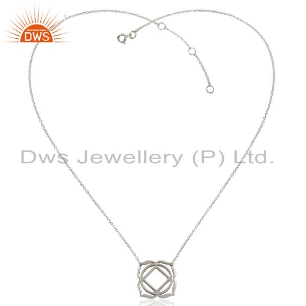 Exporter White Rhodium 925 Sterling Silver Chain Pendant Necklace Jewelry