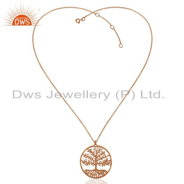 Exporter Tree of Life In 925 Sterling Silver Rose Gold Plated Pendant and Necklace