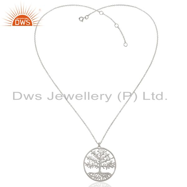 Exporter Tree of Life 925 Sterling Silver White Rhodium Plated Pendant and Necklace
