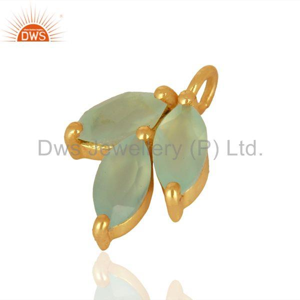 Exporter Aqua Chalcedony Gemstone Pendant Connector Jewelry Findings Supplier