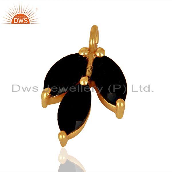 Exporter Natural Black Onyx Gemstone Gold Plated Silver Connector Findings