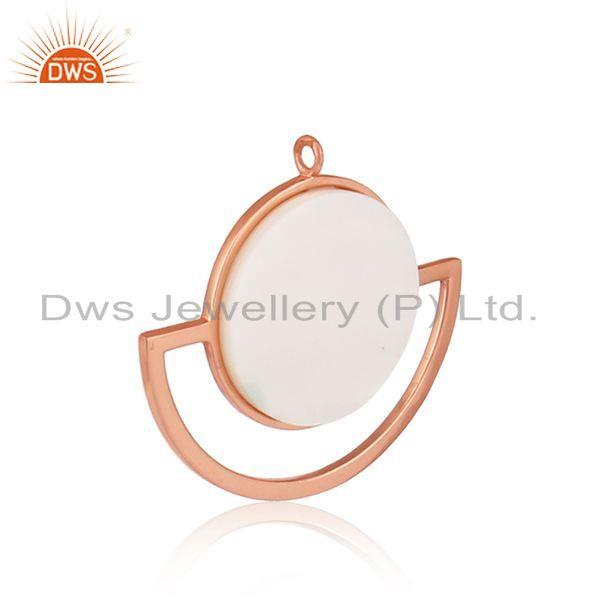 Exporter Mother of Pearl Sun & Moon Design Rose Gold Plated Silver Pendant