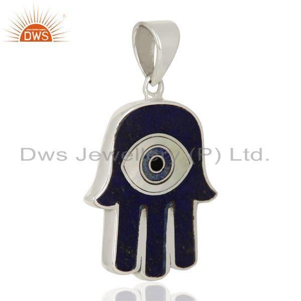 Designers Lapis And Mother Of Pearl Designer Carved Hamsa 92.5 Sterling Silver Pendent