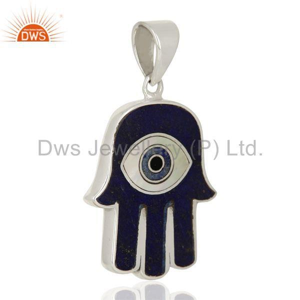 Exporter Lapis And Mother Of Pearl Designer Carved Hamsa 92.5 Sterling Silver Pendent