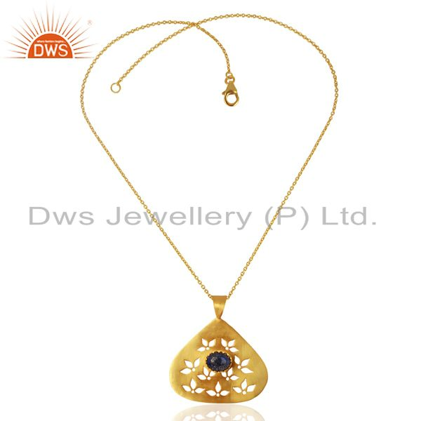 Exporter Natural Lapis Gemstone 925 Silver Gold Plated Pendant Jewelry Supplier
