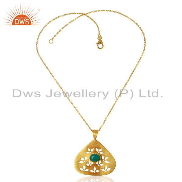 Exporter Green Onyx Gemstone Designer Gold Plated Silver Pendant Jewelry
