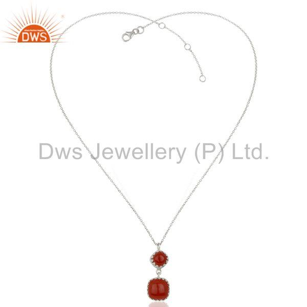 Suppliers New Arrival Sterling Silver Carnelian Gemstone Chain Pendant Supplier