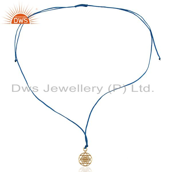 Exporter Flower Of Life 925 Sterling Silver Rose Gold Plated Blue Silk thread Pendant