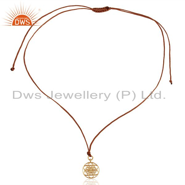 Exporter Flower Of Life 925 Sterling Silver Rose Gold Plated Brown Silk thread Pendant