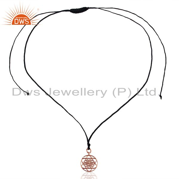 Exporter Flower Of Life 925 Sterling Silver Rose Gold Plated Darkblue Silk thread Pendant
