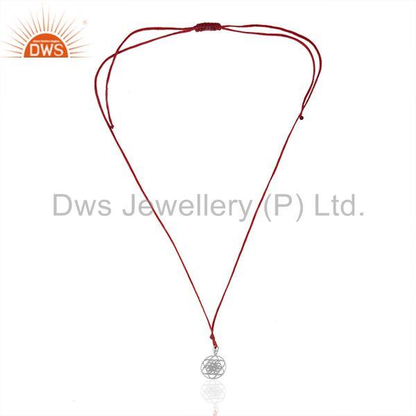 Exporter White Rhodium Sterling Plain Silver Charm Red Cord Pendant Wholesale
