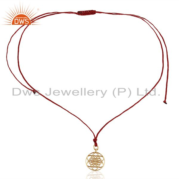 Exporter Flower Of Life 925 Sterling Silver Rose Gold Plated Darkred Silk thread Pendant