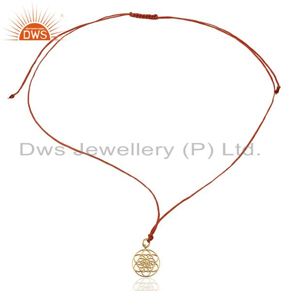 Exporter Flower Of Life 925 Sterling Silver Rose Gold Plated Orange Silk thread Pendant