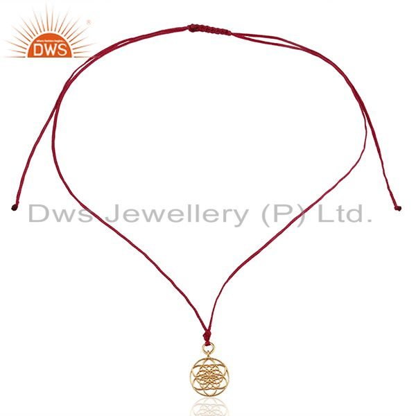 Exporter Flower Of Life 925 Sterling Silver Rose Gold Plated Pink Silk thread Pendant
