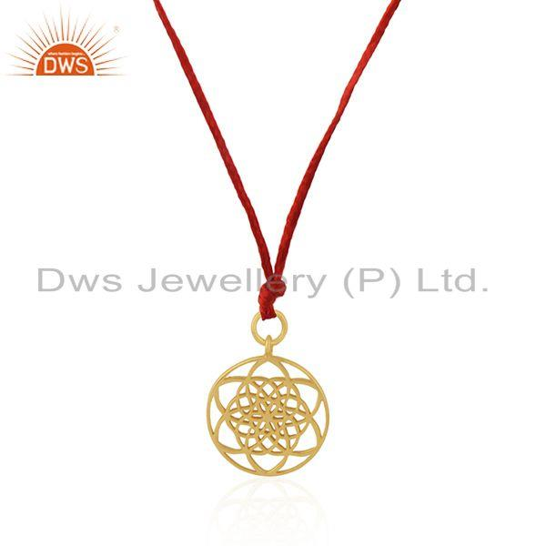 Exporter Gold Plated Sterling 925 Silver Simple Macrame Pendant Wholesaler