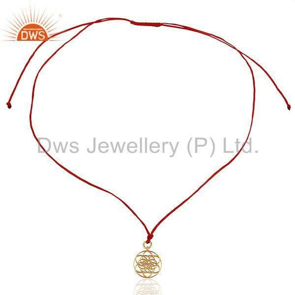 Exporter Flower Of Life 925 Sterling Silver Rose Gold Plated Red Silk thread Pendant