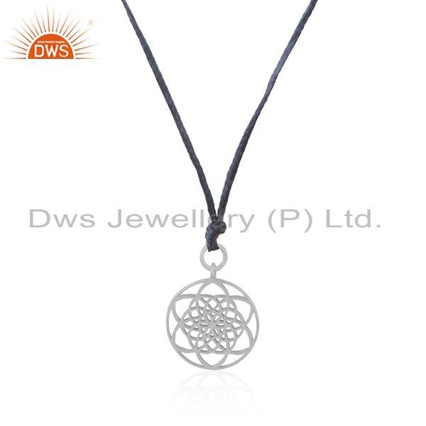 Exporter Sky Blue Macrame Cord Solid 925 Sterling Fine Silver Pendant Supplier