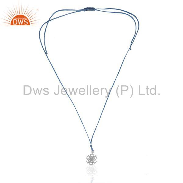 Exporter 92.5 Sterling Fine Silver Lucky Charm Sky Blue Macrame Cord Pendant