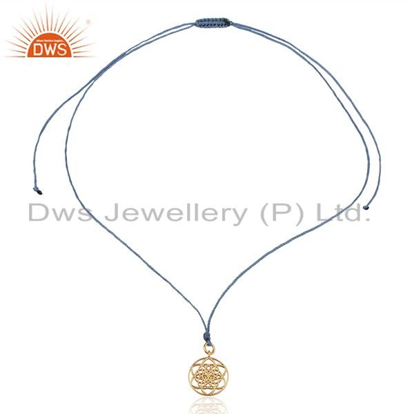 Exporter Flower Of Life 925 Sterling Silver Rose Gold Plated Sky Blue Silk thread Pendant