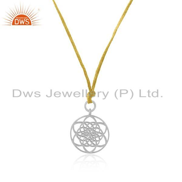 Exporter Yellow Macrame Cord Solid Sterling Silver Pendant Manufacturer Jaipur