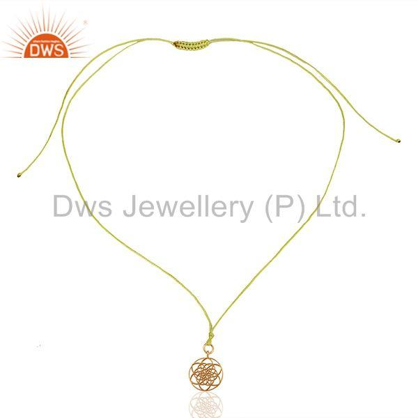 Exporter Flower Of Life 925 Sterling Silver Rose Gold Plated Yellow Silk thread Pendant