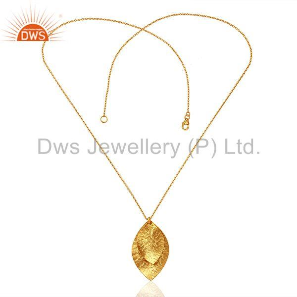 Exporter Leaf Design Gold Plated Plain Silver Chain Pendnat Jewelry Manufacture