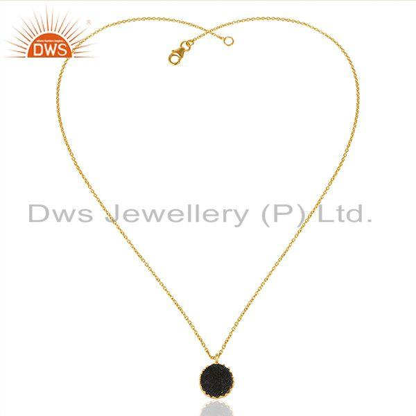 Exporter Black Druzy Gemstone Gold Plated 925 Silver Chain Pendant Wholesale