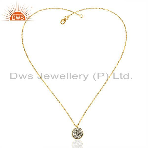 Exporter Silver Druzy Gemstone Gold Plated 925 Silver Round Pendant Supplier