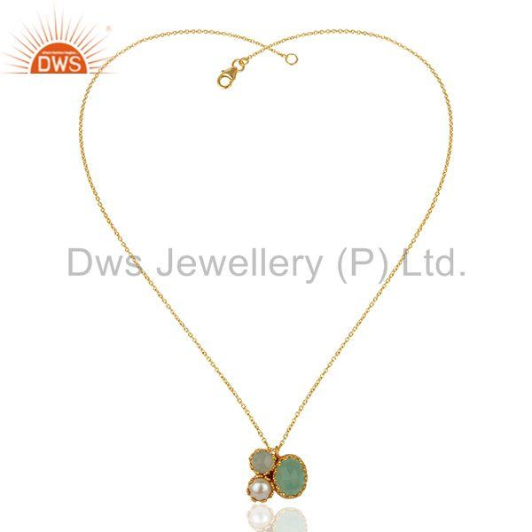 Exporter Pearl and Aqua Chalcedony Gemstone Gold Plated Silver Pendnat Jewelry