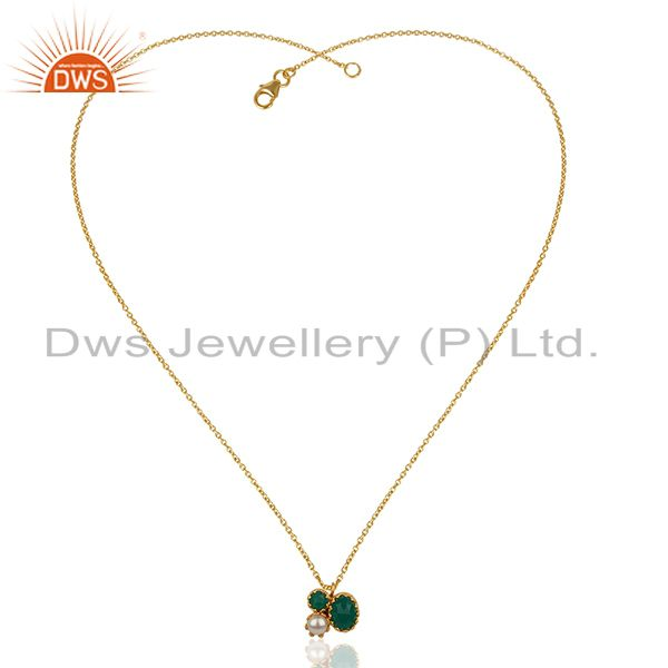 Exporter Designer Multi Gemstone Gold Plated Silver Chain Pendant Wholesale