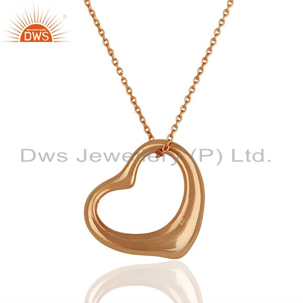 Exporter Open Heart 925 Sterling Silver Rose Gold Plated Pendants
