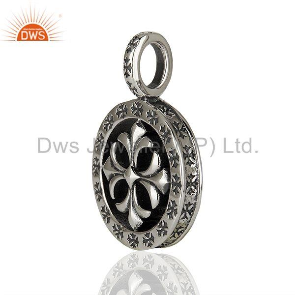 Exporter Ch Plus Medallion 925 Sterling Silver Oxodized Pendant Wholesale Jewelry