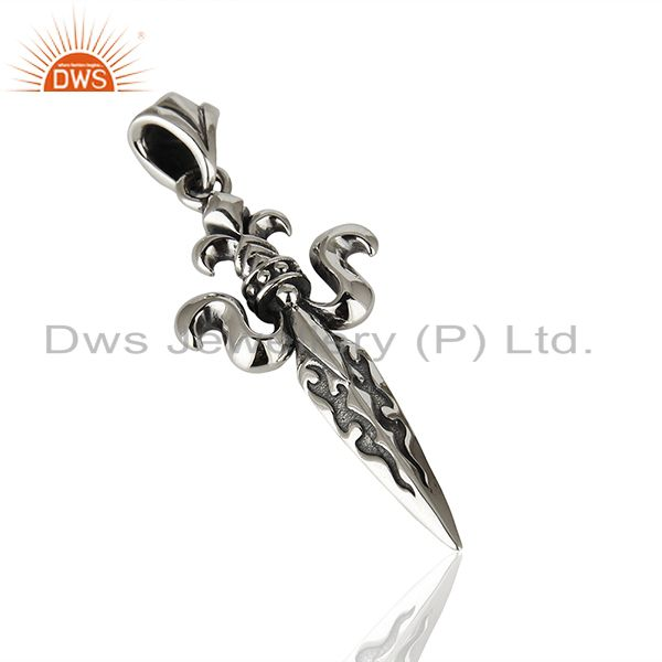 Exporter Antique Sword Design Oxidized 925 Silver Pendant Manufacturer