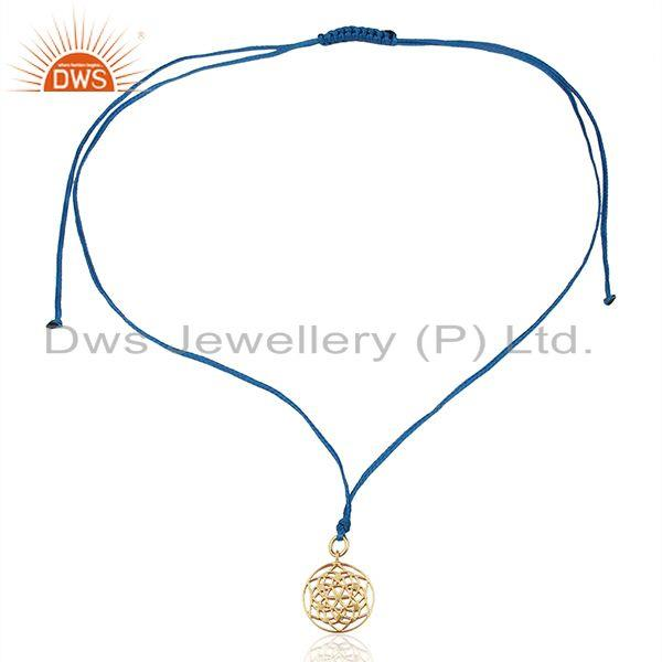 Exporter Flower of Life 92.5 Sterling Silver Rose Gold Plated Blue Silk thread Pendant