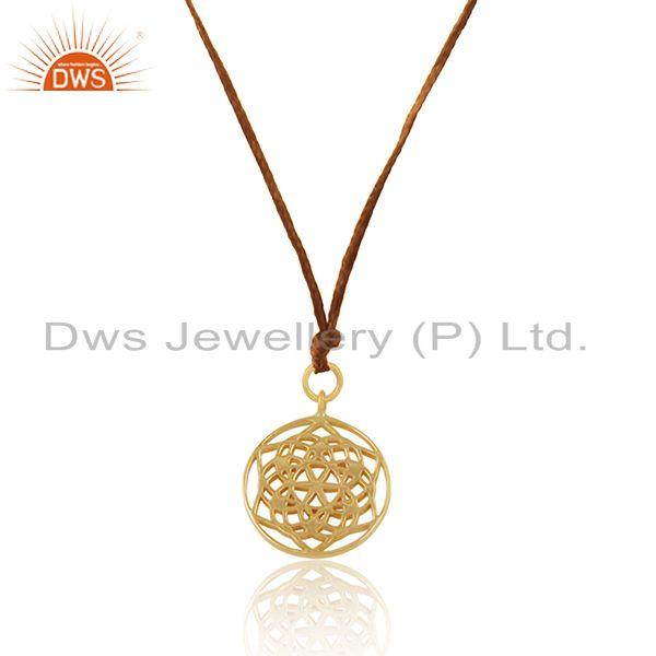 Exporter Yellow Gold Plated 925 Sterling Silver Macrame Pendant Manufacturer
